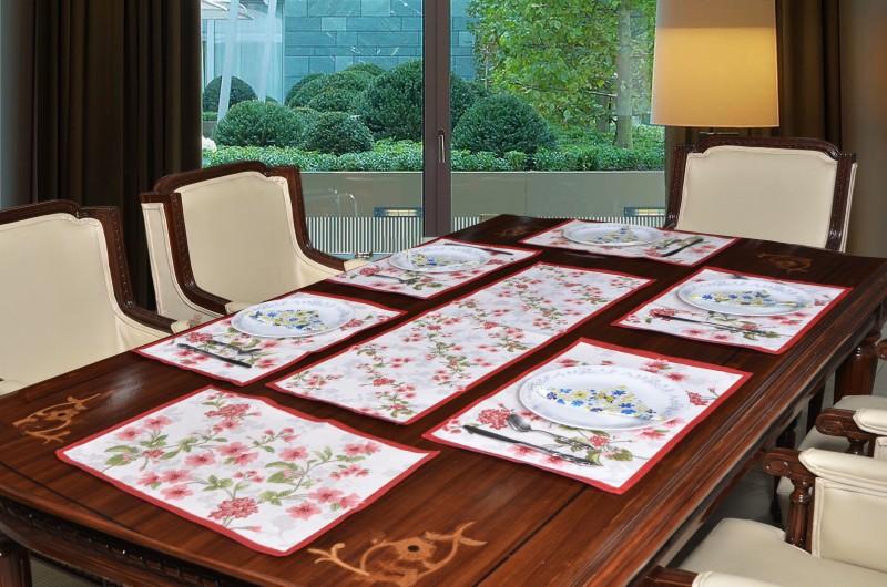 Avira Home Multicolor Polyester Table Linen Set(Pack of 7)