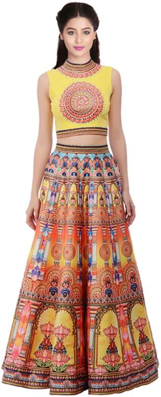 Fabkaz Art Silk Printed Semi-stitched Lehenga Choli Material