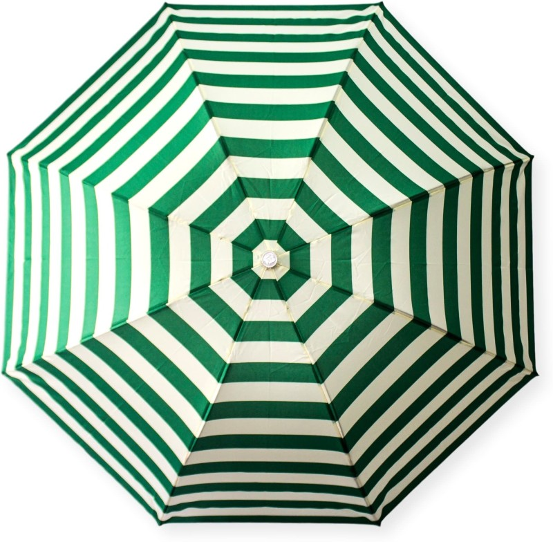 DesiCult 2 Fold GreenVanilla Stripes DCUMB44 Umbrella(Off-White, Green)