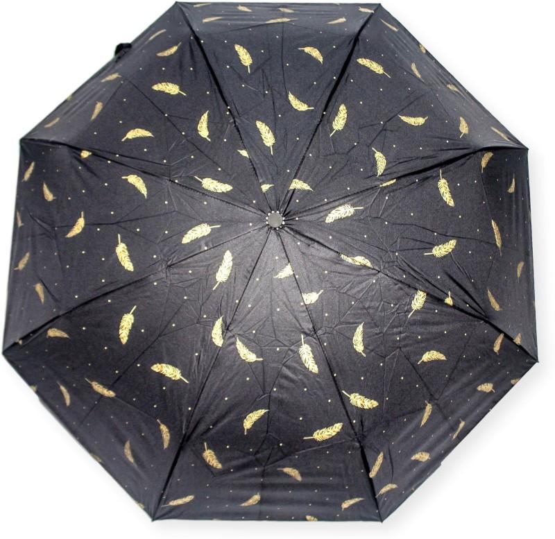 DesiCult 2 Fold Black Golden Feather DCUMB38 Umbrella(Black)