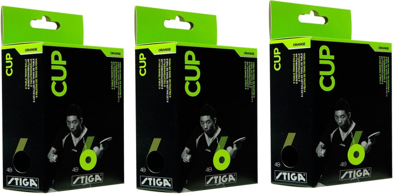 Stiga Cup Table Tennis Ball - Size: 40 mm(Pack of 3, Orange)