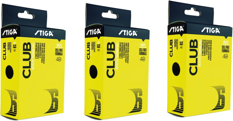 Stiga Club 40+ Table Tennis Ball - Size: 3.6(Pack of 3, White)