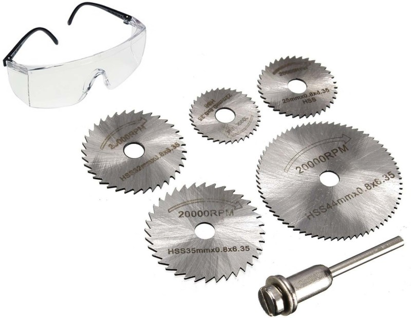Star Combo 6pc HSS Circular Saw Blade + Safety Goggle For Metal & Dremel Rotary for Wood Aluminum Cutting Rotary tool Rotary Tool(6 mm)