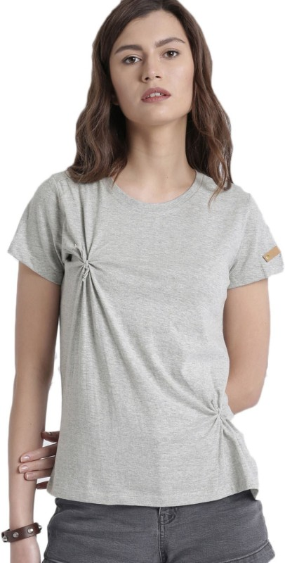 Roadster Solid Women Round Neck Grey T-Shirt