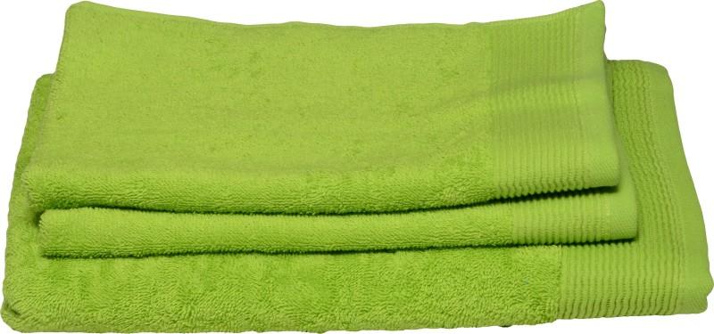 Avira Home 3 Piece Cotton Bath Linen Set(Light Green, Pack of 3)