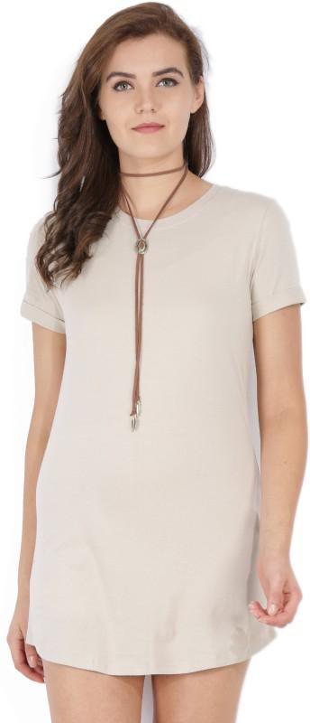 Forever 21 Womens T Shirt Beige Dress