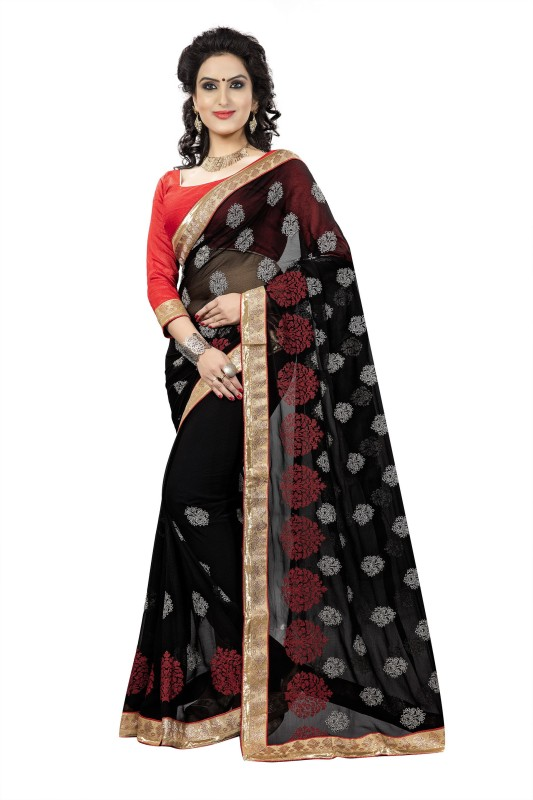 Rola Trendz Embroidered, Self Design Fashion Georgette Saree(Black)