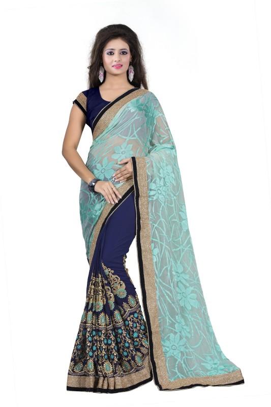 Rola Trendz Embroidered, Self Design Fashion Georgette, Brasso Saree(Dark Blue)