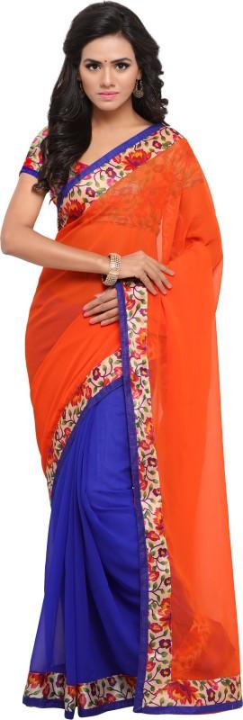 Rola Trendz Self Design, Digital Prints Daily Wear Georgette Saree(Orange, Blue)