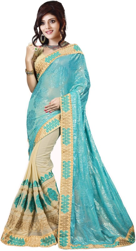 Rola Trendz Embroidered, Self Design Bollywood Georgette, Brasso Saree(Beige, Blue)