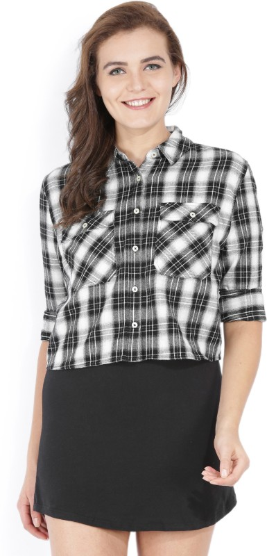 Forever 21 Women Checkered Casual Black, White Shirt