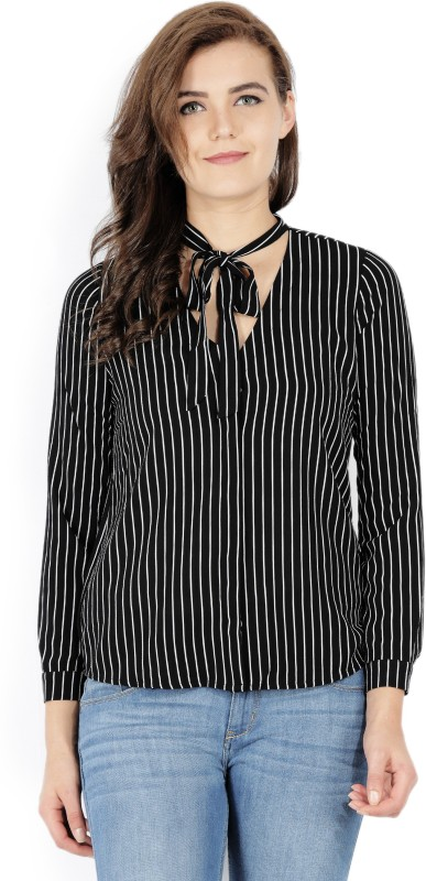 Forever 21 Womens Striped Casual Black, White Shirt