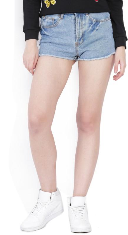 Forever 21 Solid Women's Blue Denim Shorts