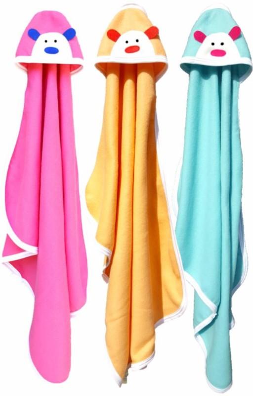 BRANDONN Embroidered Single Hooded Baby Blanket Multicolor(Fleece Blanket, 3 Baby Blankets)