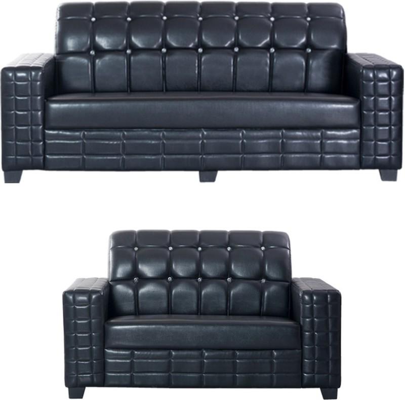 Bharat Lifestyle Black Diamond Leatherette 3 + 2 Black Sofa Set