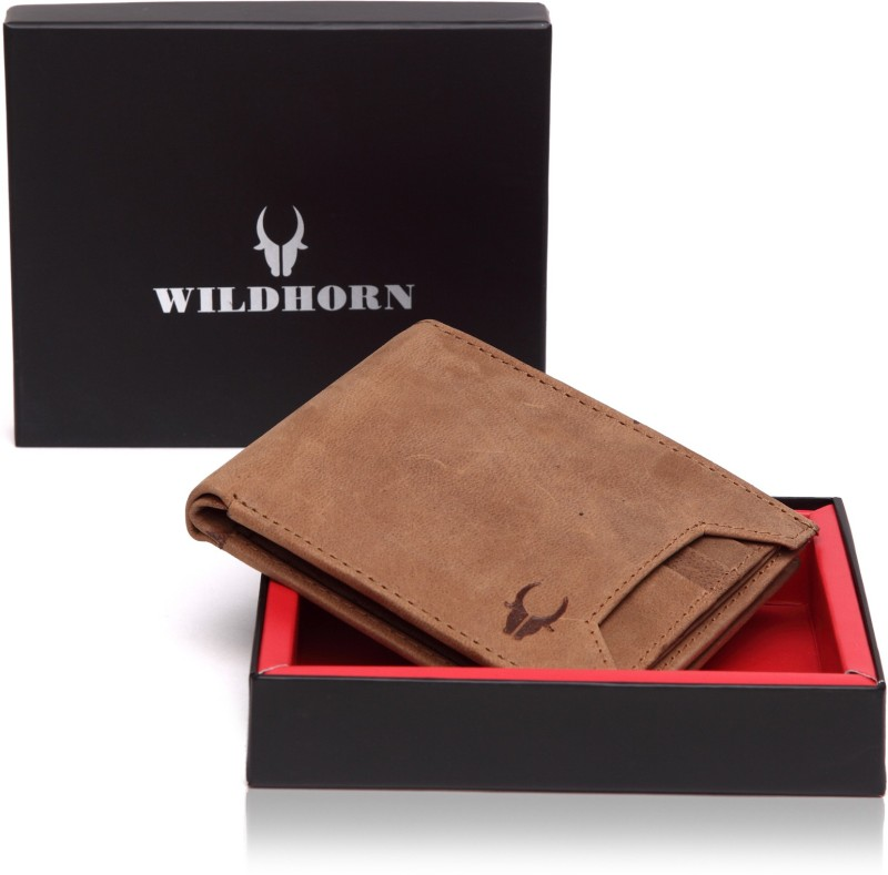 WildHorn Men Tan Genuine Leather Wallet(9 Card Slots)