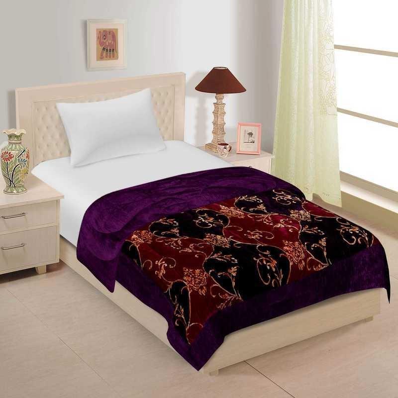 Spangle Self Design Single, Queen Quilt, Comforter Purple(AC Blanket, 1 Micro Comforters)