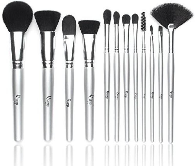 Qivange Synthetic Foundation Blush Eyeshadow Eyelash Lip Cosmetic Brush Kit( Silver) +sponge Puff And Bag(Pack of 12)