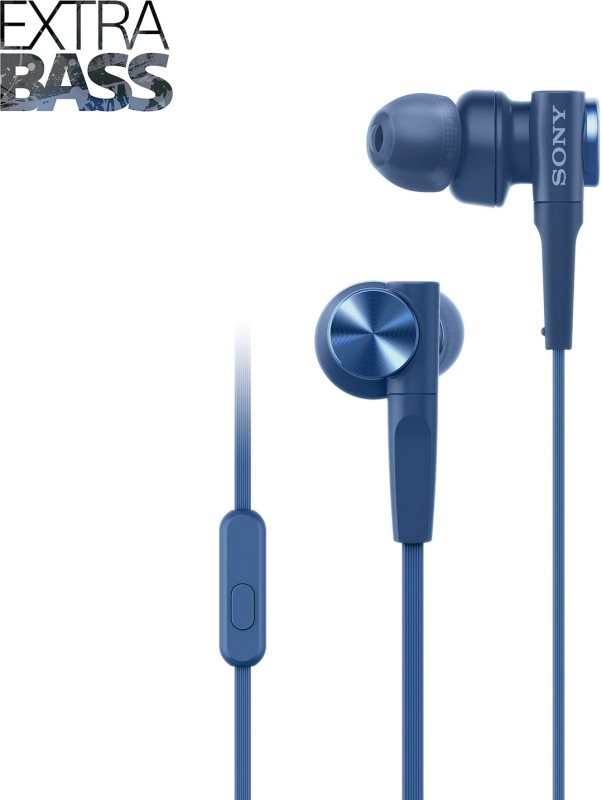 Sony MDR-XB55AP Headset with Mic(Blue, In the Ear)