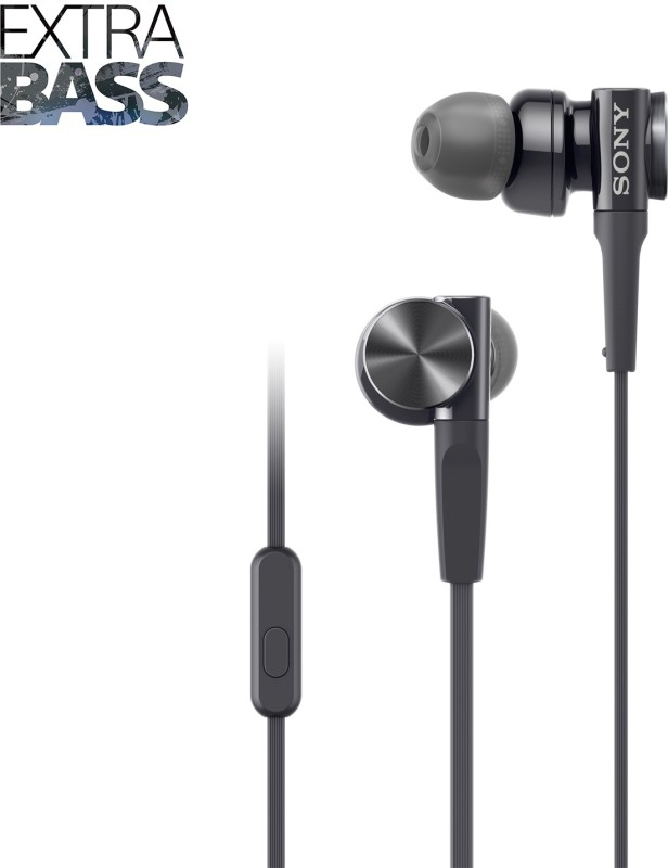 Sony MDR-XB75AP Headset with Mic(Black, In the Ear)
