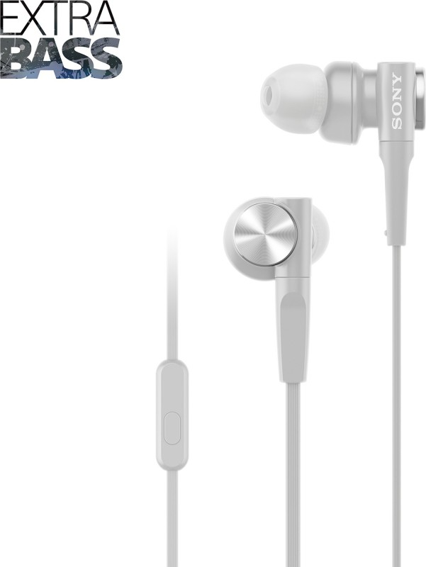 Sony XB55AP Wired Headset with Mic(Grayish White, In the Ear)