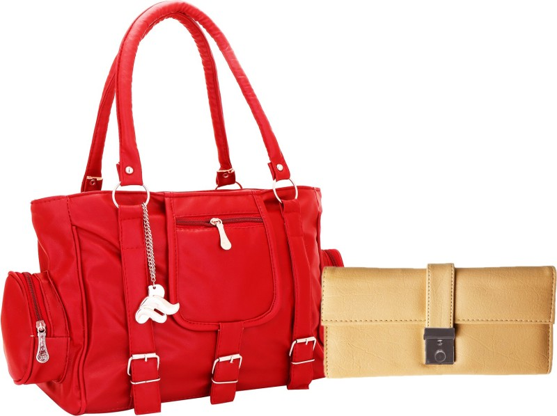 Lady bar Women Red, Beige Hand-held Bag