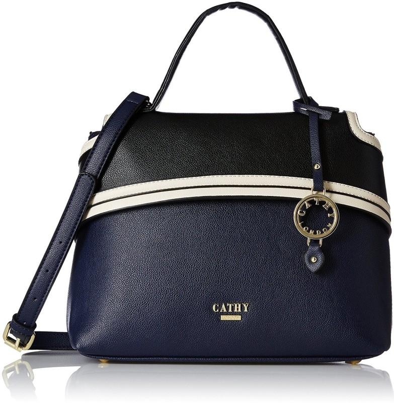 Cathy London Hand-held Bag(Black, Blue)