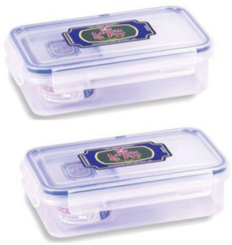 Topware Set Of 2 Topware Lock & Fit 500 ML Rectangle Plastic LUNCH BOX 2 Containers Lunch Box(500 ml)