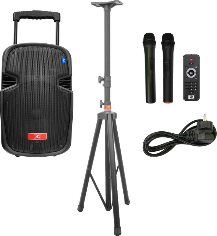 MX 10 inches Portable Multimedia Trolley Speaker With Speaker stand and Built-in Amplifier Battery Bluetooth Usb Radio Fm Sd Card Aux Input & 2 Wireless Microphone Remote 3710&3465A Indoor, Outdoor PA System(75 W)