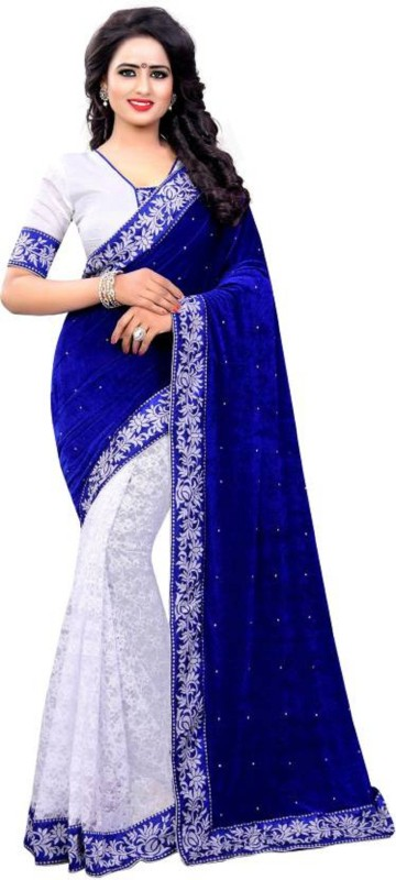 SNH Export Self Design Daily Wear Velvet Saree(Blue)