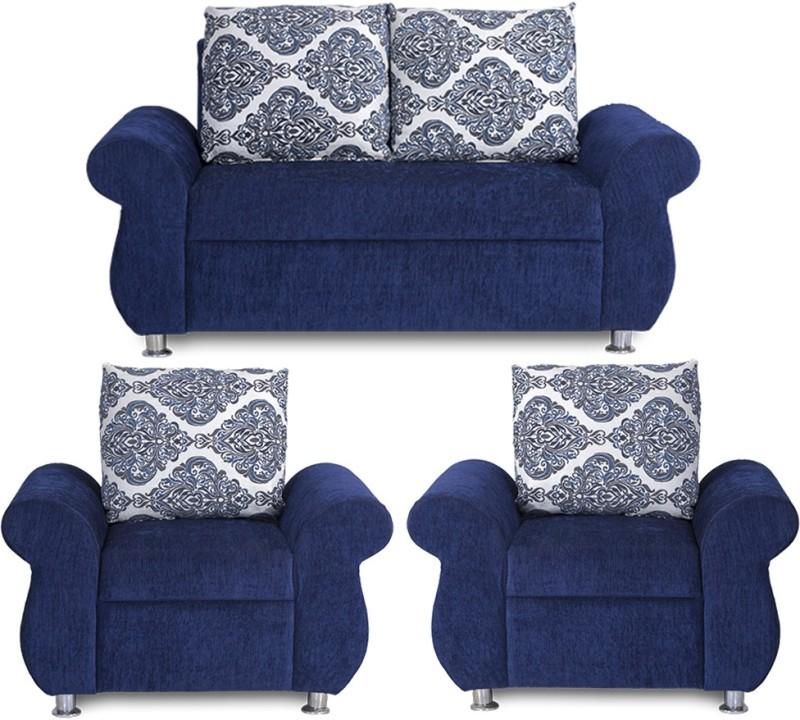 Bharat Lifestyle Alisa Fabric 2 + 1 + 1 Blue Sofa Set
