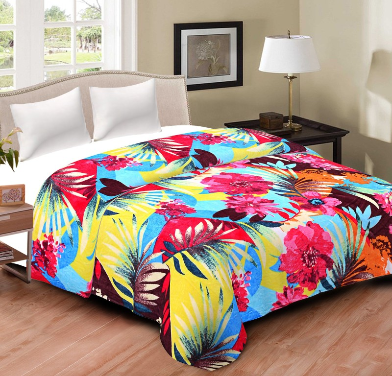 Cliq Printed Double Top Sheet Multicolor(AC Blanket, 1 Blanket)