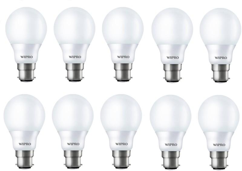 WIPRO 9 W Standard B22 LED Bulb(White, Pack of 10)