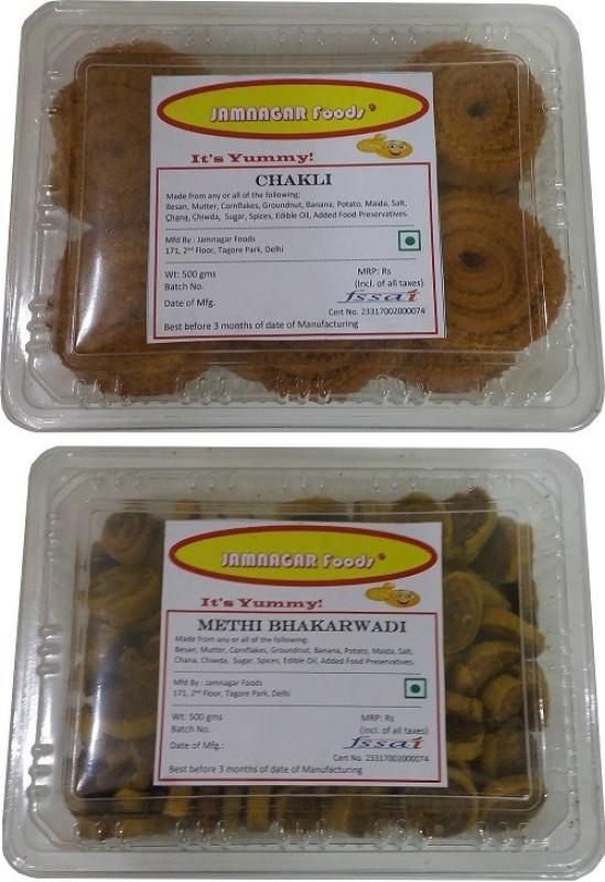 Jamnagar Foods CHAKLI & METHI BHAKARWADI 500 GM EACH Combo(2)