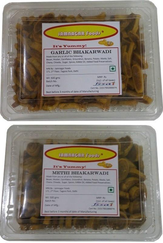 Jamnagar Foods GARLIC BHAKARWADI & METHI BHAKARWADI 500 GM EACH Combo(2)