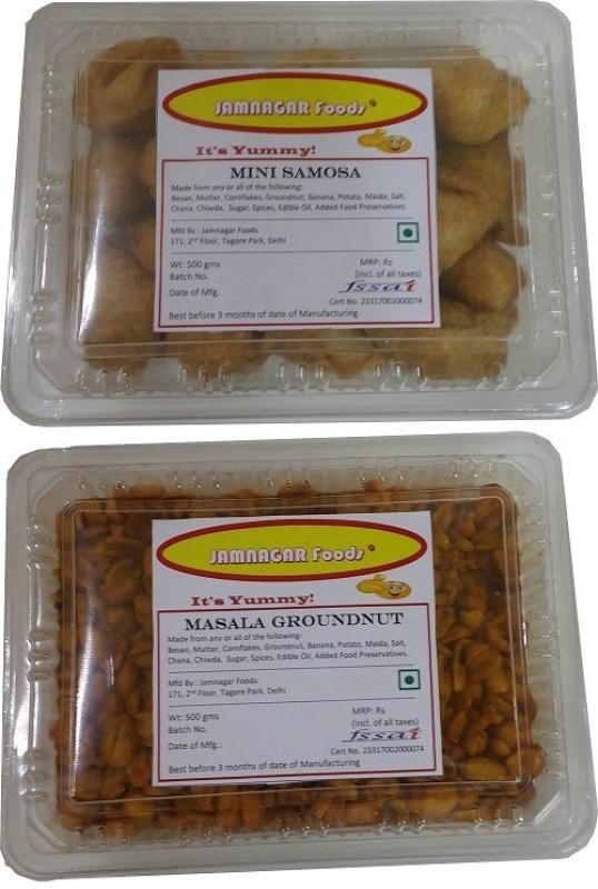 Jamnagar Foods MINI SAMOSA & MASALA GROUNDNUT 500 GM EACH Combo(2)