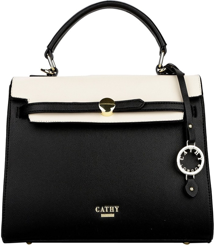 Cathy London Hand-held Bag(Black, Beige)