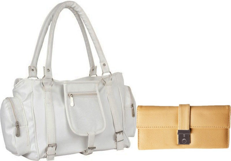 Lady bar Women White, Beige Hand-held Bag