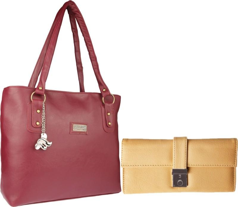 Lady bar Women Maroon, Beige Hand-held Bag