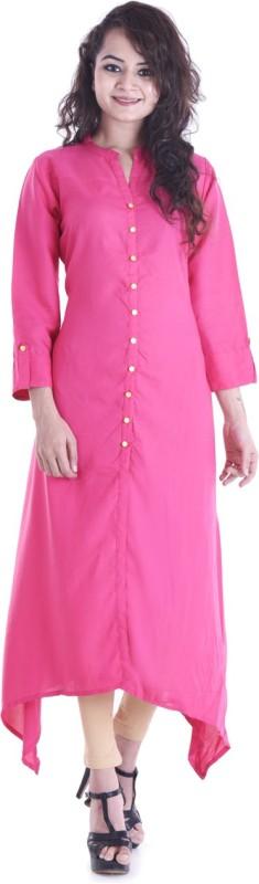 Stylum Casual Solid Women's Kurti(Pink)