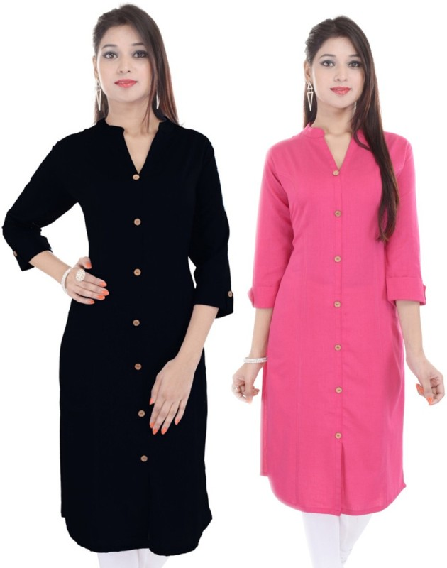 Fab Attire Casual Printed Women Kurti(Pack of 2, Pink, Black)