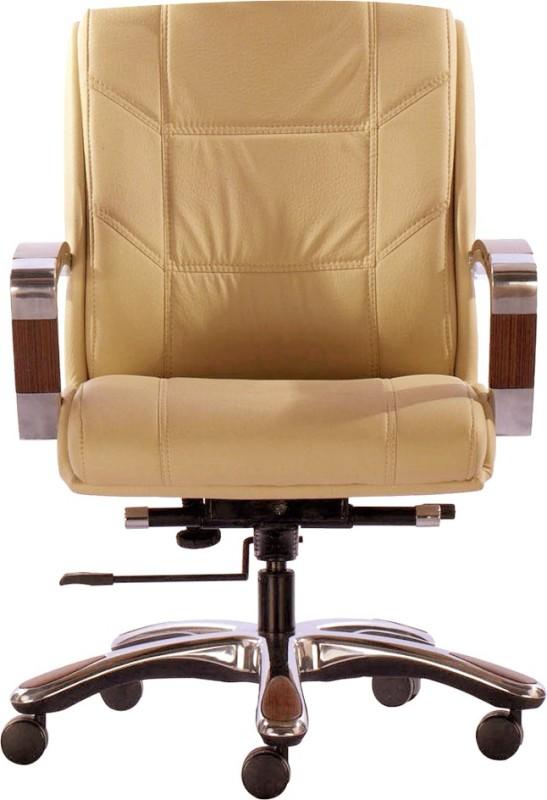 HOF Premium Medium Back Designer- ZYDO - 532 Leatherette Office Executive Chair(Beige)