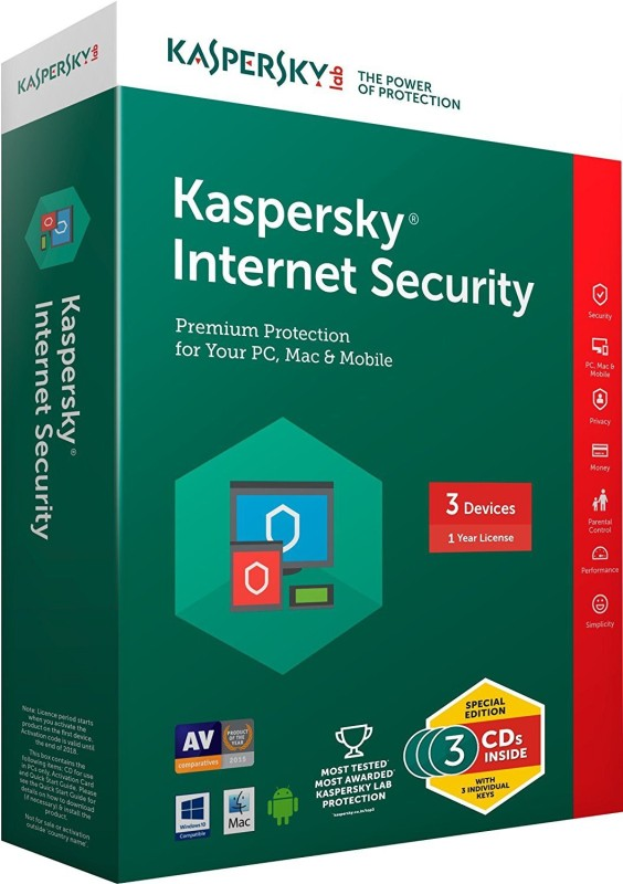 Kaspersky Internet Security 2017 3 Pc 1 year (3cds,3 Serial Keys Every Key 1 year Validity Free Three Plastic Cd Cover)