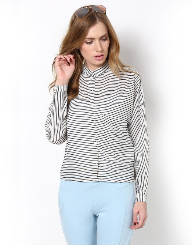 Only Women Striped Casual White Shirt