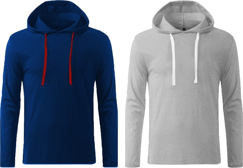 Icable Solid Men Hooded Light Blue, Grey T-Shirt(Pack of 2)