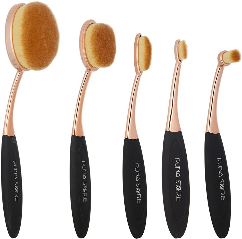 puna store Oval Brush Set, Black/Gold, 5 Pieces(Pack of 5)