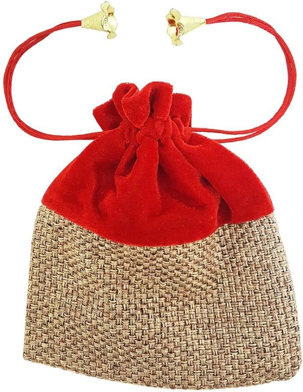 Mehrunnisa (8 X 6.5 Inch) Shagun High Quality Potli Pouch In Velvet & Jute Pouch(Red)