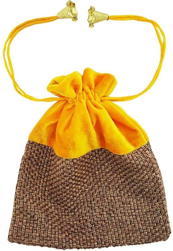 Mehrunnisa (8 X 6.5 Inch) Shagun High Quality Potli Pouch In Velvet & Jute Pouch(Yellow)