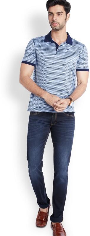Park Avenue Printed Men Polo Neck Blue T-Shirt