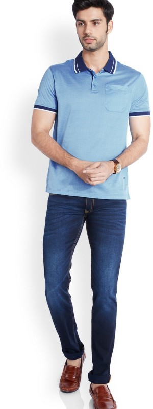 Park Avenue Solid Men Polo Neck Blue T-Shirt